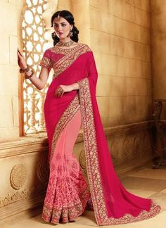 Pink Georgette Saree ,Indian Dresses - 1
