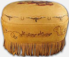 Round Up Cowskin Ottoman ~ Western Passion
