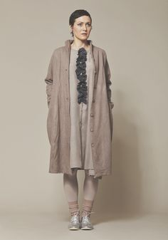 PRIVATSACHEN Collection autumn winter 2016 - Frilled blouse-dress made of fine silk combined with cosy woolen coat