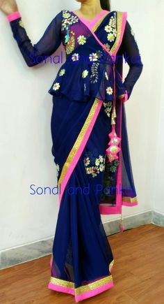 The Stylish And Elegant Saree In Blue Colour Looks Stunning And Gorgeous With Trendy And Fashionable Cotton Silk Fabric Looks Extremely Attractive And Can Add Charm To Any Occasion. Stylish Blouse Design, Fancy Blouse Designs, Blouse Neck Designs, Blouse Patterns, Sari Design, Saree Draping Styles, Saree Styles, Indian Attire, Indian Outfits