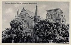Ascension Catholic Church, a very beautiful church..1941 postcard showing Ascension Catholic Church in Donaldsonville, Ascension Parish, Louisiana. (Postcard by Curt, Teich & Co.)