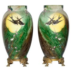 fine pair of ormolu mounted baccarat glass vases - Decorative Glass Vases