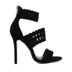 Hollow Out Ankle Strap Stiletto Heel Sandals Black ($33) ❤ liked on Polyvore featuring shoes, sandals, heels stilettos, black ankle strap stilettos, ankle tie sandals, ankle strap sandals and black ankle strap sandals