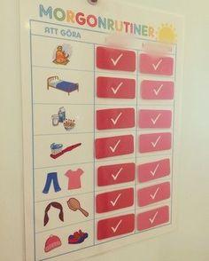 """Här är ett sorts """"schema"""" som man kan använda dagligen för barnens morgonrutiner. De får själva kryssa av/sätta fast en lapp på den rutin de är färdiga med, en efter en, tills de är..."""