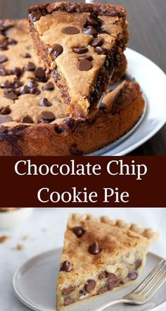 This delicious Chocolate chip cookie pie serves with the ice cream for a quick summer dessert. this cookie pie soft and fluffy. and a kid-friendly dish. Tart Recipes, Baking Recipes, Sweet Recipes, Cookie Recipes, Dessert Recipes, Just Desserts, Delicious Desserts, Yummy Food, Delicious Chocolate