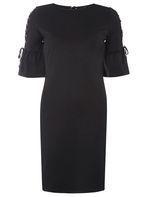 Womens Black Eyelet Sleeve Detail Bodycon Dress- Black