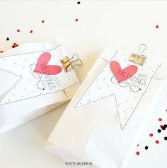 bijdeb: Valentijnsdag Xl broodzak label...