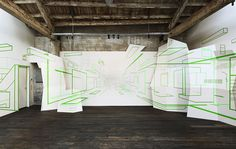 optical illusion art made from strips of tape by damien gilley - designboom | architecture
