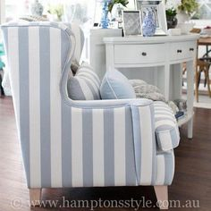 Our Azurest striped armchair brings the Hamptons to your home. My Living Room, Living Room Chairs, Living Room Decor, Hamptons Style Decor, The Hamptons, Hamptons Style Bedrooms, Hampton Furniture, Home Furniture, Beach Cottage Decor