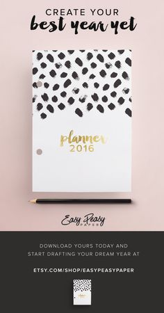 2016 Planner PRINTABLE Women Gift A5 2016 by EasyPeasyPaper