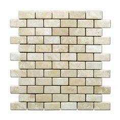 Durango Cream 1 X 2 Tumbled Travertine Brick Mosaic Tile ( kitchen backsplash )