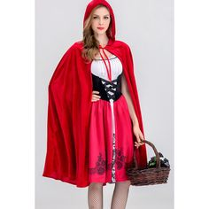 Red Riding Hood Fairytale Storybook Costume (43 AUD) ❤ liked on Polyvore featuring costumes, red costume, little red riding hood costume, red halloween costumes, red riding hood halloween costume and red riding hood costume