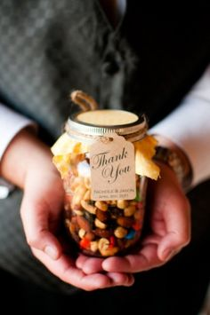 Trail mix in mason jars as a farm wedding favor?