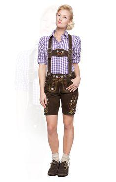 Gaudi-Leathers Damen Trachten Lederhose Kniebund mit Tr/äger in verschiedenen Farben