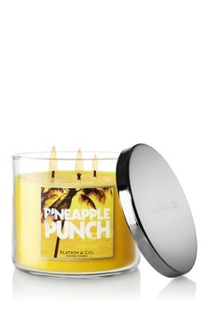 bath and body works candles - made of vegetable wax and lead-free wicks! my current favorite is pineapple punch, closely followed my caribbean escape, tiki beach, and lilac blossom!