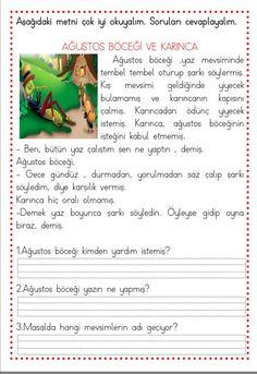 Okuma anlama çalışmaları (5 adet) Çiğdem Öğretmen