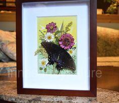 Original Pressed Flowers Framed Art Real by IrinasArtByNature
