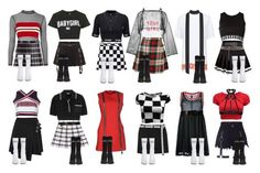 My way of fulfilling a lifelong dream of styling a kpop girl group. Kpop Fashion Outfits, Stage Outfits, Edgy Outfits, Mode Outfits, Dance Outfits, Girl Outfits, Womens Fashion, Green Dress Outfit, Cosplay Outfits