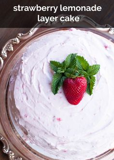 strawberry lemonade cake | this is the perfect cake for a summer party. can be made up to two days ahead and leftovers can be frozen for up to a month. creamy, fruity, fresh, with a hint of tart flavor from the lemon. | http://www.cravebakejoy.com