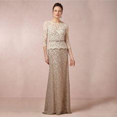 Robe de soirée courte elegante 2016 Lace Baratos Plus Size até o Chão Mãe Da Noiva Vestidos Com Três Quartos jaqueta