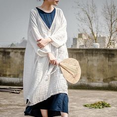 Women spring cotton linen coat