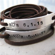 Valentine Anniversary Bracelets, Leather Wrap, SET OF 2, Couples Bracelets, Matching Bracelets, choose leather, text, see charts, read info