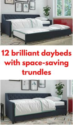 Dark blue daybed with trundle White Daybed, Twin Daybed With Trundle, Small Scale Furniture, Space Furniture, Modern Daybed, Upholstered Daybed, Guest Bed, Headboard And Footboard, Space Saving
