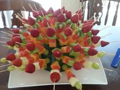 Showy but Simple Fruit Kabobs - Perfect for a Party. Made this many times and easy to do! Janice