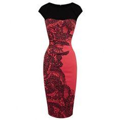 Retro Style Round Collar Printing Back Zipper Color Splicing Bodycon Women's Dress, AS THE PICTURE, S in Bodycon Dresses | DressLily.com