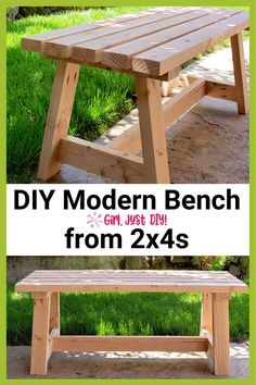 Modern Bench - DIY Tutorial - Girl, Just DIY! Build this beginner project Modern Bench with my DIY Tutorial using construction but with a modern twist. Great budget friendly DIY for a patio, entryway, or a dining room. Woodworking Basics, Easy Woodworking Projects, Diy Wood Projects, Woodworking Shop, Woodworking Plans, Woodworking Furniture, Woodworking Equipment, Woodworking Techniques, Green Woodworking
