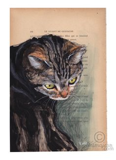 GWEN - Peinture,  19x28,5 cm ©2015 par evafialka -                                                                        Art figuratif, Papier, Animaux, Chats, cat, chat