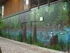 Wildlife Mural Vancouver Artist Muralist - Hyde Creek Wall Mural Port Coquitlam BC Landscape / Wildlife Mural Painting by Vancouver Artist Muralist Kim Hunter Graffiti Murals, Art Mural, Mural Painting, Wall Murals, Wall Paintings, Outdoor Paint, Outdoor Walls, Indoor Outdoor, Outdoor Shade