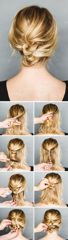 this quick messy updo for short hair is so cool messy updo updo and short hair. Black Bedroom Furniture Sets. Home Design Ideas