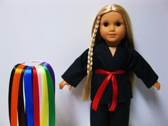 American Girl Doll Clothes - Karate Black Uniform and 9 Colour Belts fit 18 inch Dolls $13.99 Etsy