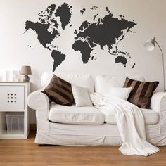World Map Wall Art Stencil from Cutting Edge Stencils looks perfect stenciled on an accent wall for world travelers and geography lovers. http://www.cuttingedgestencils.com/world-map-stencil-wall-decal-worlds-maps-stencils.html