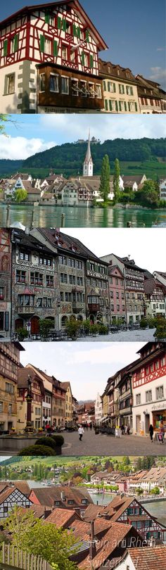 The charming, medieval town of Stein am Rhein, has well preserved frescos and painted houses.  Take a river cruise to Schaffhausen to see the Rhine Falls.