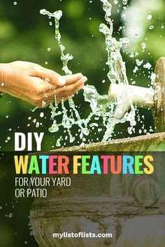 Make your own outdoor DIY waterfall with a few of my favorite DIY water feature projects. These outdoor DIY projects are so easy! #water #features #diy #projects #patio #yard