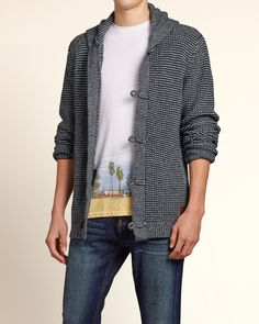 The perfect cardigan comes with a hood. Supersoft and comfortable textured knit cardigan with button closure and hood, front pockets and logo patch, Imported<br><br> Full Zip Hoodie, Hoodies, Sweatshirts, Knit Cardigan, Hollister, Closure, Pockets, Button, Logo
