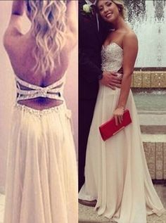 Elegant A-Line Sweetheart Floor Length Chiffon White Prom/Evening Dress With Beading,5139 by Dress Storm, $183.00 USD