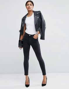 ASOS RIDLEY Skinny Jeans in Washed Black - Black