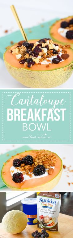 Cantaloupe Breakfast Bowl... an all-in-one, easy way to prepare a healthy and…
