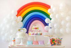 Over the Rainbow Kids Birthday Party DIY Rainbow Party Decor