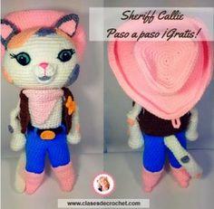 Linda gatita en amigurumi, nuestra famosa amigaSheriff Callie, patrón con el paso a paso, para hacer esta preciosa muñeca en amigurumi.