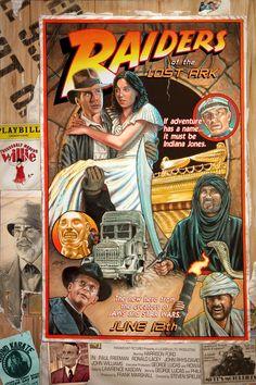 Indiana Jones Raiders of the Lost Ark poster art by Adam McDaniel Henry Jones Jr, Indiana Jones Adventure, Indiana Jones Films, Paul Freeman, George Lucas, Alternative Movie Posters, Movie Poster Art, Harrison Ford, Lost Art