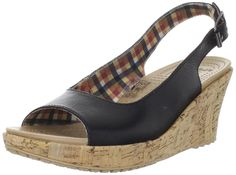 crocs Women's A-Leigh Leather Slingback Wedge -- Visit the image link more details.