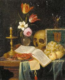 Theodor Smits (c. 1635 (?)-c. 1707 (?) ) A vanitas still life of a candle, a vase of flowers, a skull, a roemer, a crab, a shrimp and a hazelnut on a platter, with an open book of music, a letter with a seal, grapes and plums on a partially draped table