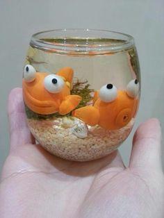 Dee Raa Arts twin goldfish polymer clay sculpey fimo resin two fish fishbowl bowl cute cartoon