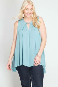 This sky blue tank is incredibly flattering for all body types. The button collar and keyhole in the neckline is simple and classy.