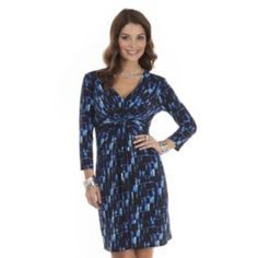 daisy+fuentes+Printed+Knot-Front+Dress+-+Petite