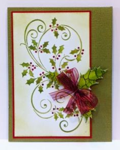 Louise Healy of Artfully Articulate, created this elegant card with Dreamweaver stencils, Crackle Embossing Paste, and the new Holly DIE.